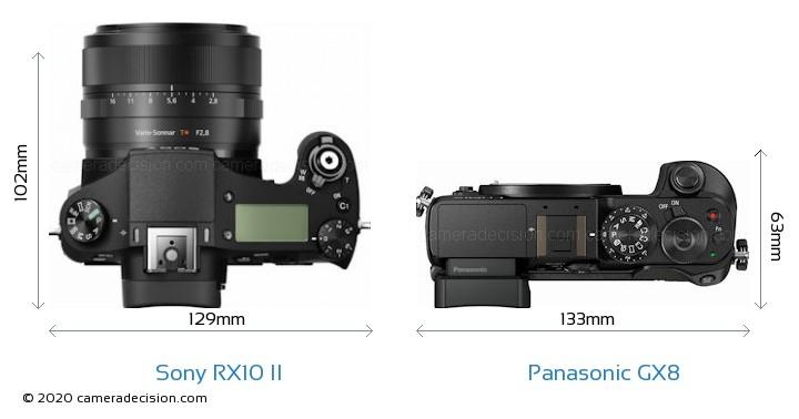 Sony RX10 II vs Panasonic GX8 Camera Size Comparison - Top View