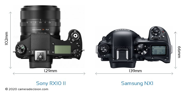 Sony RX10 II vs Samsung NX1 Camera Size Comparison - Top View
