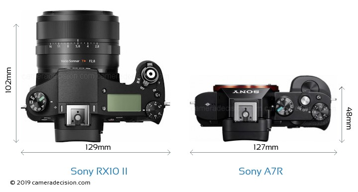 Sony RX10 II vs Sony A7R Camera Size Comparison - Top View