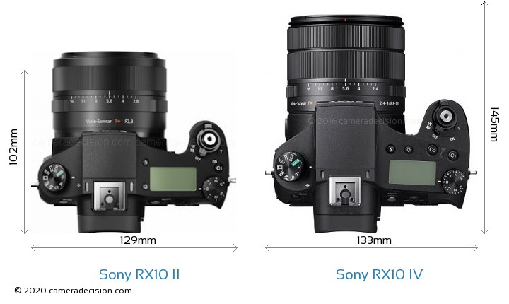 Sony RX10 II vs Sony RX10 IV Camera Size Comparison - Top View