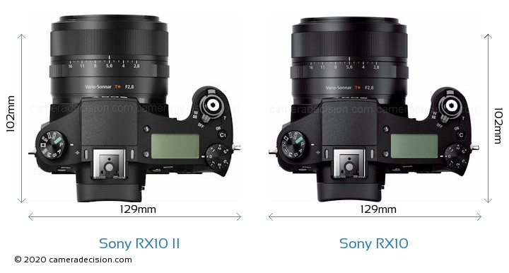 Sony RX10 II vs Sony RX10 Camera Size Comparison - Top View