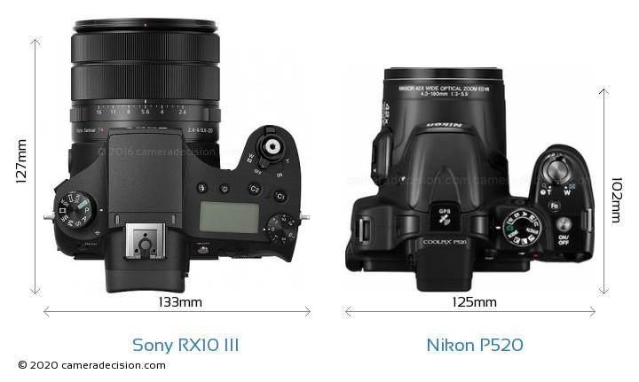 Sony RX10 III vs Nikon P520 Camera Size Comparison - Top View