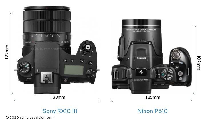 Sony RX10 III vs Nikon P610 Camera Size Comparison - Top View