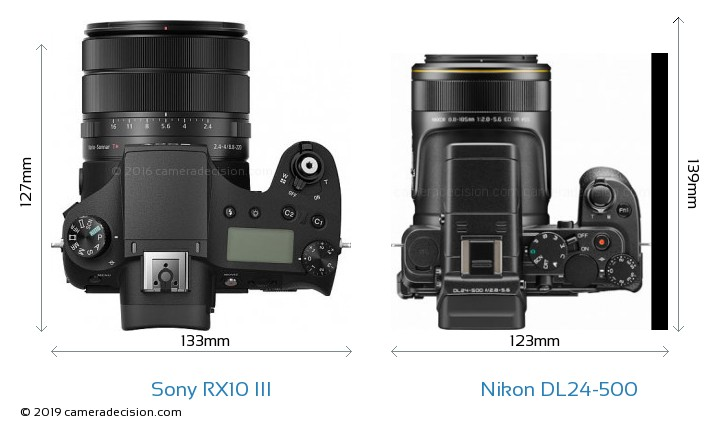 Sony RX10 III vs Nikon DL24-500 Camera Size Comparison - Top View