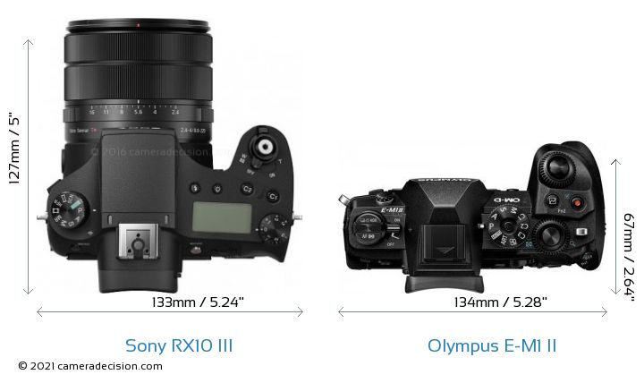 Sony RX10 III vs Olympus E-M1 II Camera Size Comparison - Top View