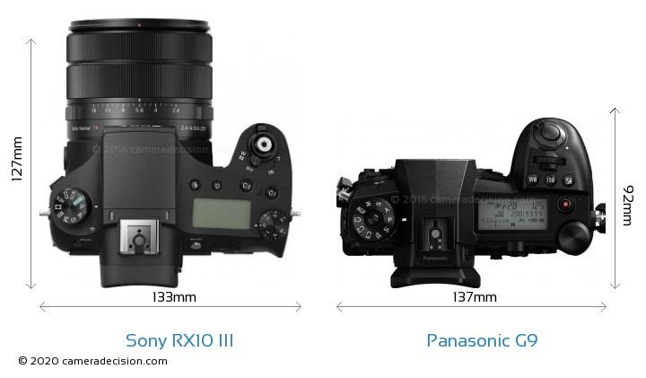 Sony RX10 III vs Panasonic G9 Camera Size Comparison - Top View