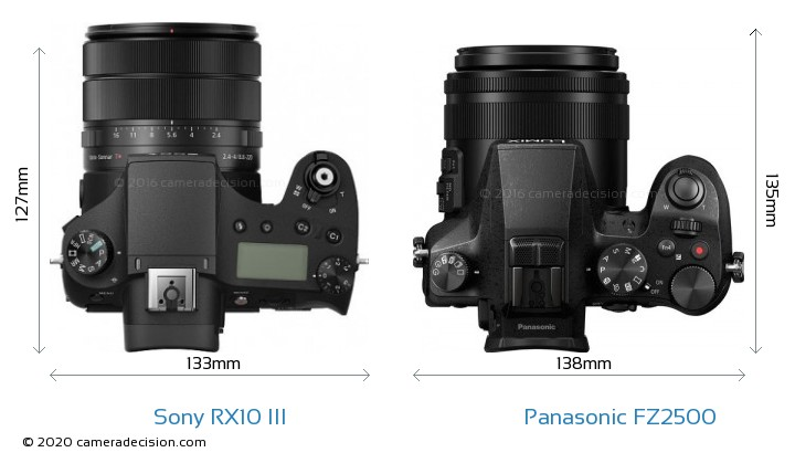 Sony RX10 III vs Panasonic FZ2500 Camera Size Comparison - Top View