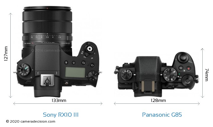 Sony RX10 III vs Panasonic G85 Camera Size Comparison - Top View