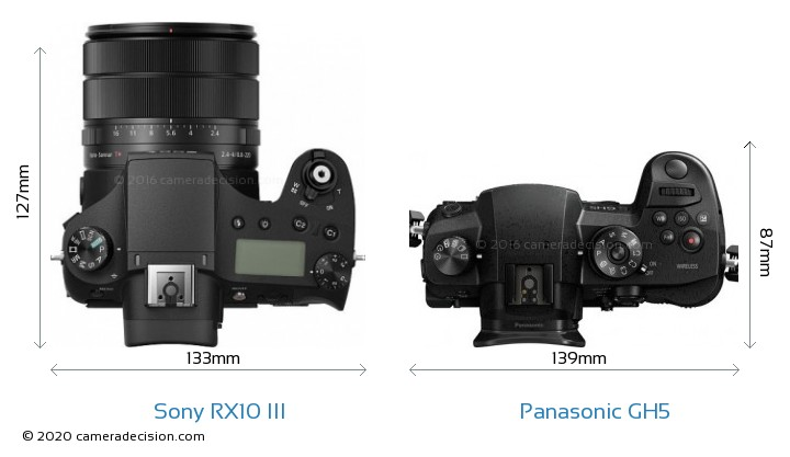 Sony RX10 III vs Panasonic GH5 Camera Size Comparison - Top View