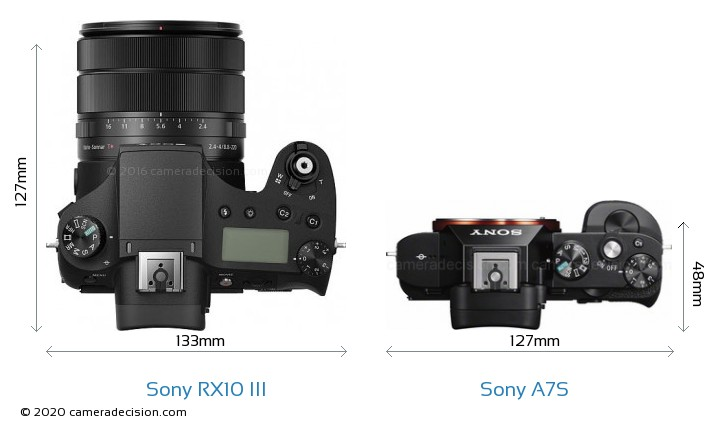 Sony RX10 III vs Sony A7S Camera Size Comparison - Top View