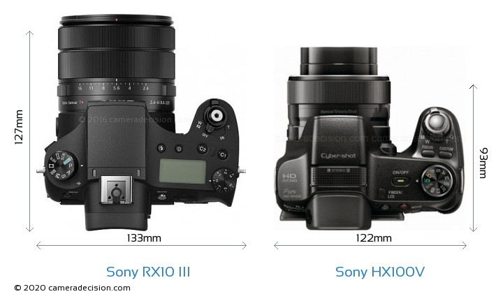 Sony RX10 III vs Sony HX100V Camera Size Comparison - Top View
