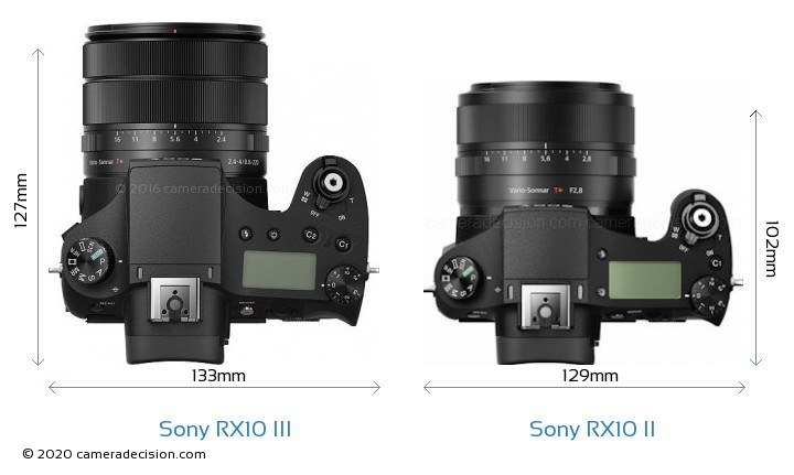 Sony RX10 III vs Sony RX10 II Camera Size Comparison - Top View