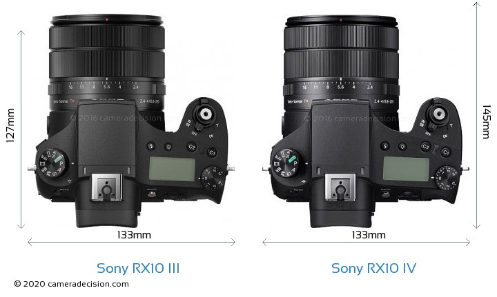 Sony RX10 III vs Sony RX10 IV Camera Size Comparison - Top View