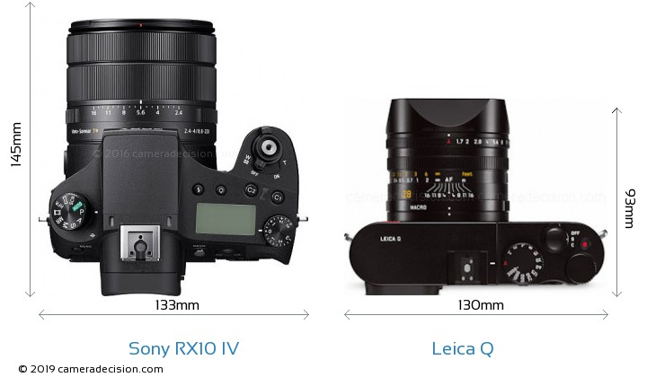 Sony RX10 IV vs Leica Q Camera Size Comparison - Top View