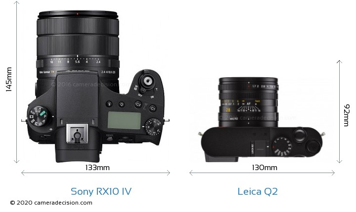 Sony RX10 IV vs Leica Q2 Camera Size Comparison - Top View