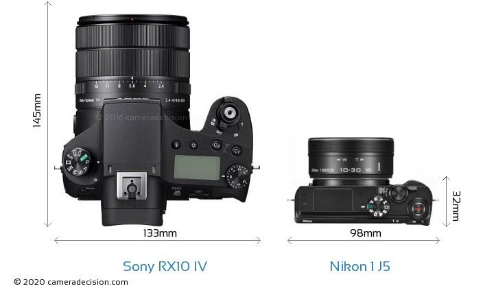 Sony RX10 IV vs Nikon 1 J5 Camera Size Comparison - Top View