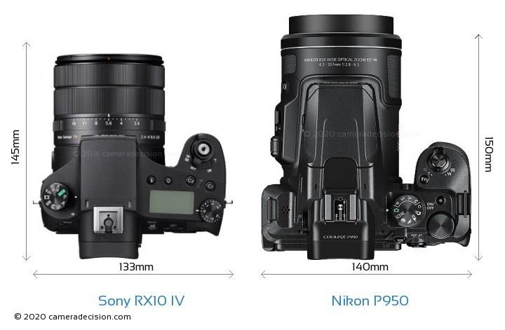 Sony RX10 IV vs Nikon P950 Camera Size Comparison - Top View