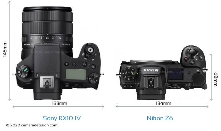 Sony RX10 IV vs Nikon Z6 Camera Size Comparison - Top View