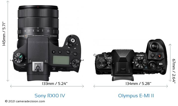 Sony RX10 IV vs Olympus E-M1 II Camera Size Comparison - Top View