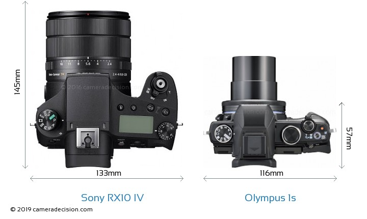 Sony RX10 IV vs Olympus 1s Camera Size Comparison - Top View
