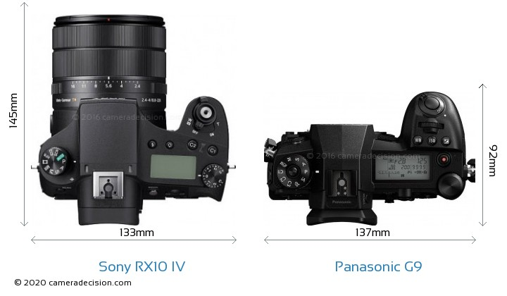 Sony RX10 IV vs Panasonic G9 Camera Size Comparison - Top View