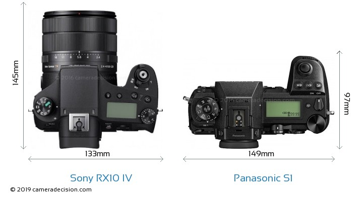 Sony RX10 IV vs Panasonic S1 Camera Size Comparison - Top View