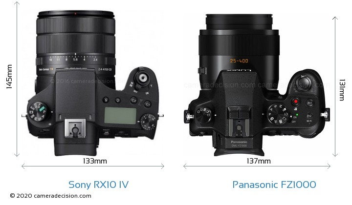 Sony RX10 IV vs Panasonic FZ1000 Camera Size Comparison - Top View