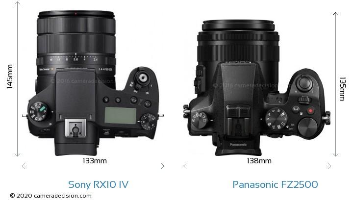 Sony RX10 IV vs Panasonic FZ2500 Camera Size Comparison - Top View