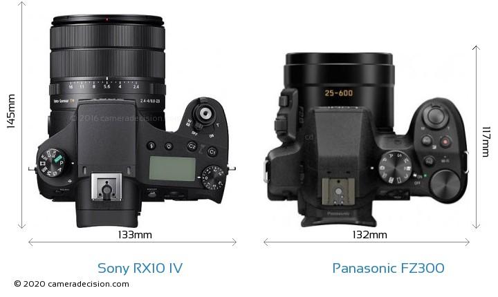 Sony RX10 IV vs Panasonic FZ300 Camera Size Comparison - Top View