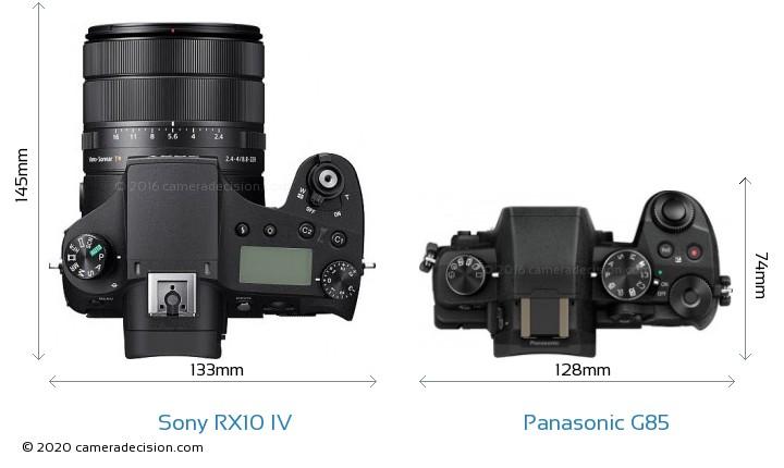 Sony RX10 IV vs Panasonic G85 Camera Size Comparison - Top View