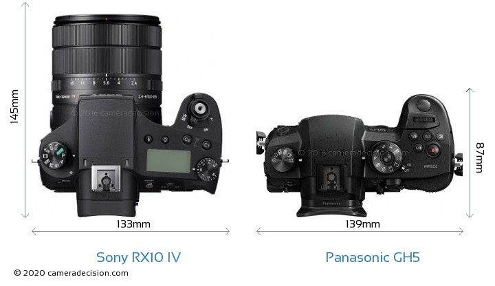 Sony RX10 IV vs Panasonic GH5 Camera Size Comparison - Top View