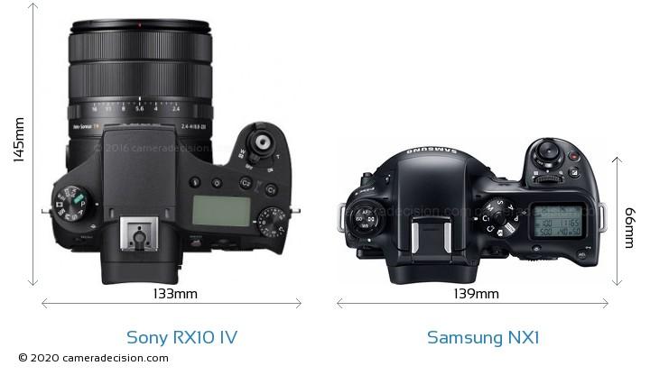 Sony RX10 IV vs Samsung NX1 Camera Size Comparison - Top View