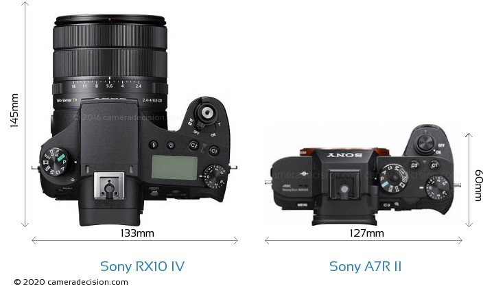 Sony RX10 IV vs Sony A7R II Camera Size Comparison - Top View