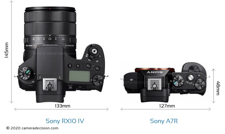 Sony RX10 IV vs Sony A7R Camera Size Comparison - Top View