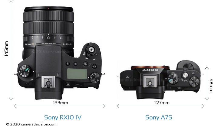 Sony RX10 IV vs Sony A7S Camera Size Comparison - Top View