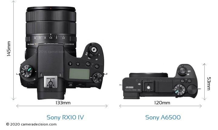 Sony RX10 IV vs Sony A6500 Camera Size Comparison - Top View