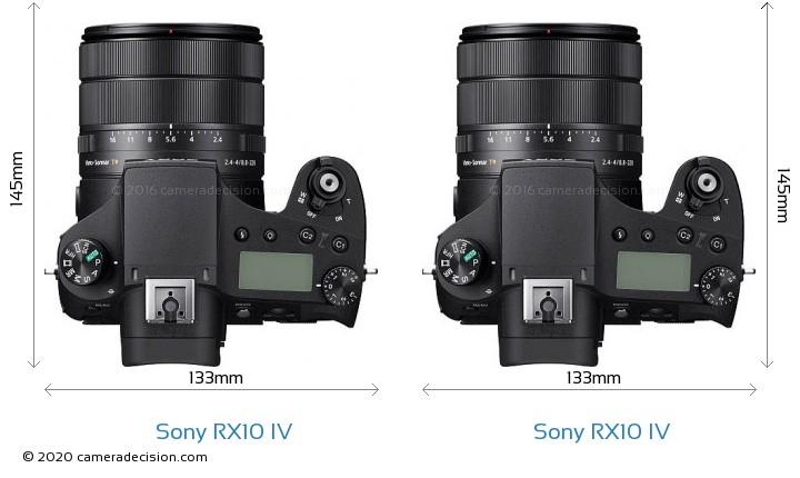 Sony RX10 IV vs Sony RX10 IV Camera Size Comparison - Top View