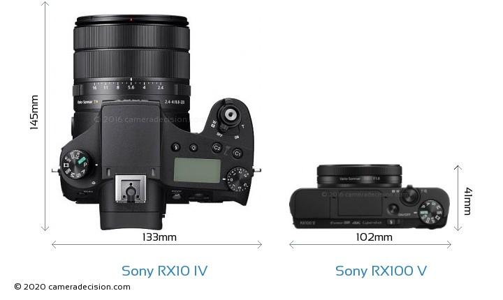 Sony RX10 IV vs Sony RX100 V Camera Size Comparison - Top View