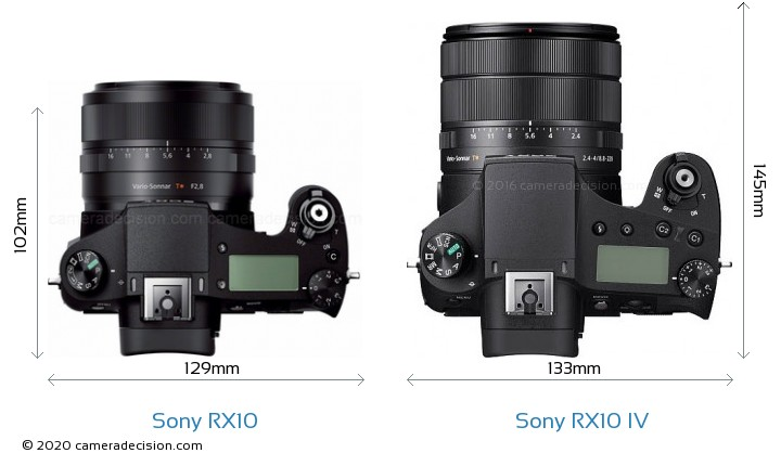 Sony RX10 vs Sony RX10 IV Camera Size Comparison - Top View
