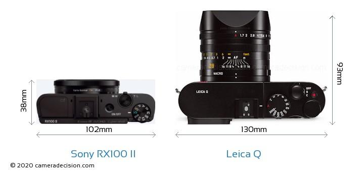 Sony RX100 II vs Leica Q Camera Size Comparison - Top View