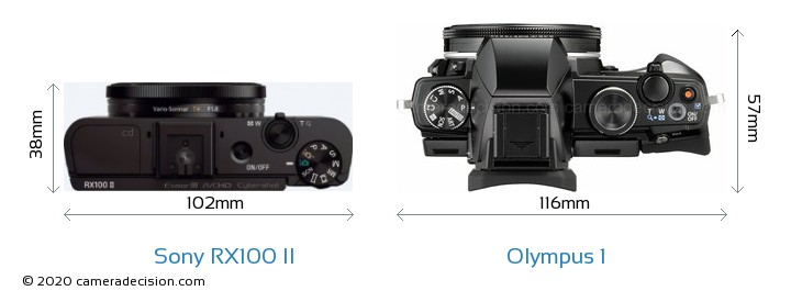 Sony RX100 II vs Olympus 1 Camera Size Comparison - Top View