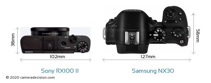 Sony RX100 II vs Samsung NX30 Camera Size Comparison - Top View