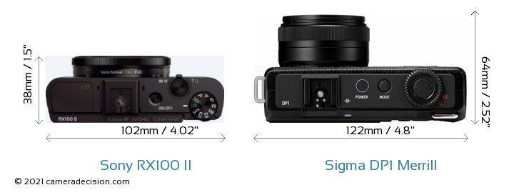 Sony RX100 II vs Sigma DP1 Merrill Camera Size Comparison - Top View