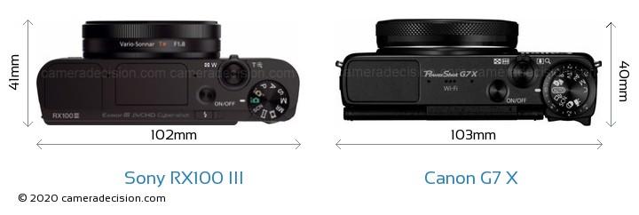 Sony RX100 III vs Canon G7 X Camera Size Comparison - Top View