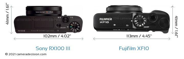 Sony RX100 III vs Fujifilm XF10 Camera Size Comparison - Top View