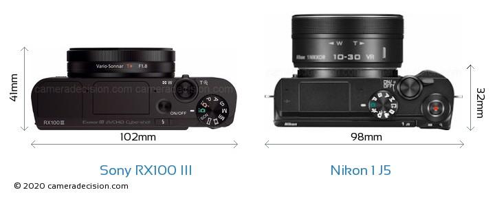 Sony RX100 III vs Nikon 1 J5 Camera Size Comparison - Top View
