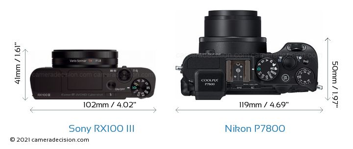 Sony RX100 III vs Nikon P7800 Camera Size Comparison - Top View