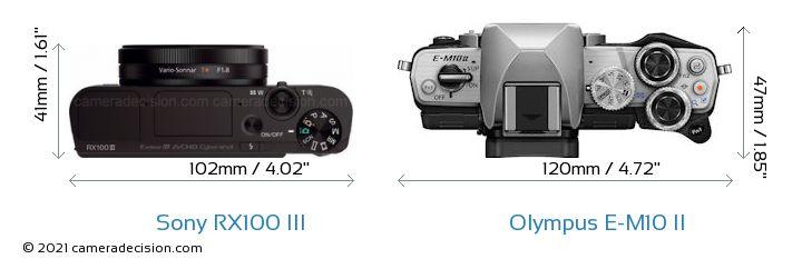 Sony RX100 III vs Olympus E-M10 II Camera Size Comparison - Top View
