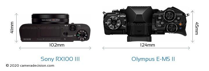 Sony RX100 III vs Olympus E-M5 II Camera Size Comparison - Top View
