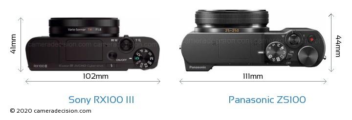 Sony RX100 III vs Panasonic ZS100 Camera Size Comparison - Top View